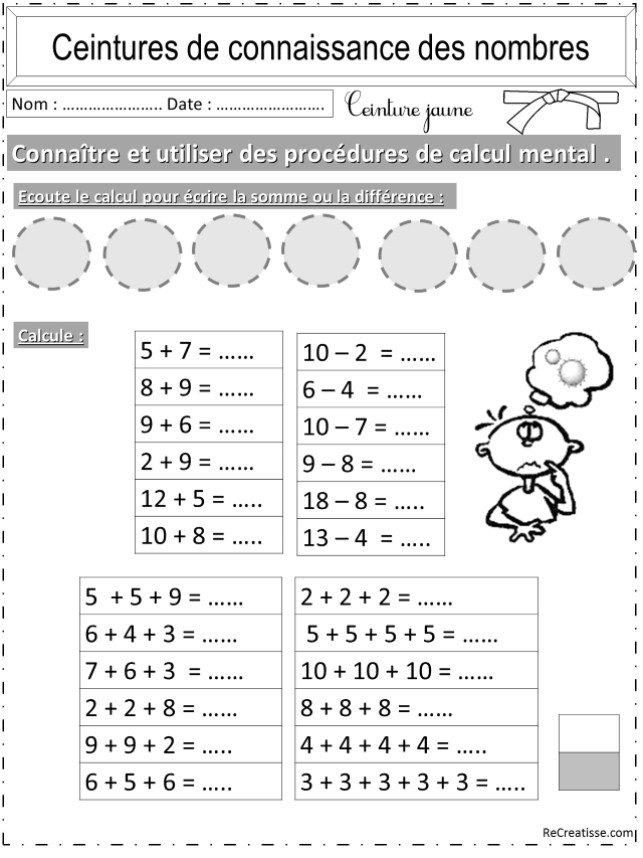 Favori NUMERATION : ceintures connaissance des nombres et calcul  HA81