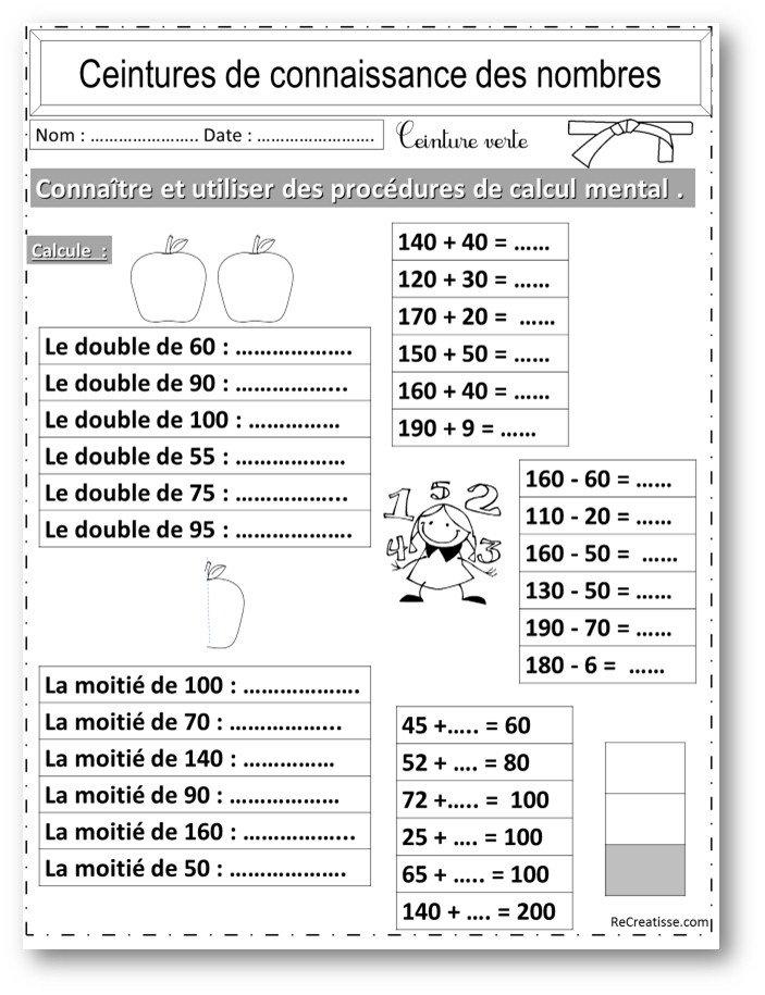 Numeration ceintures connaissance des nombres et calcul - Calcul mental tables de multiplication ...