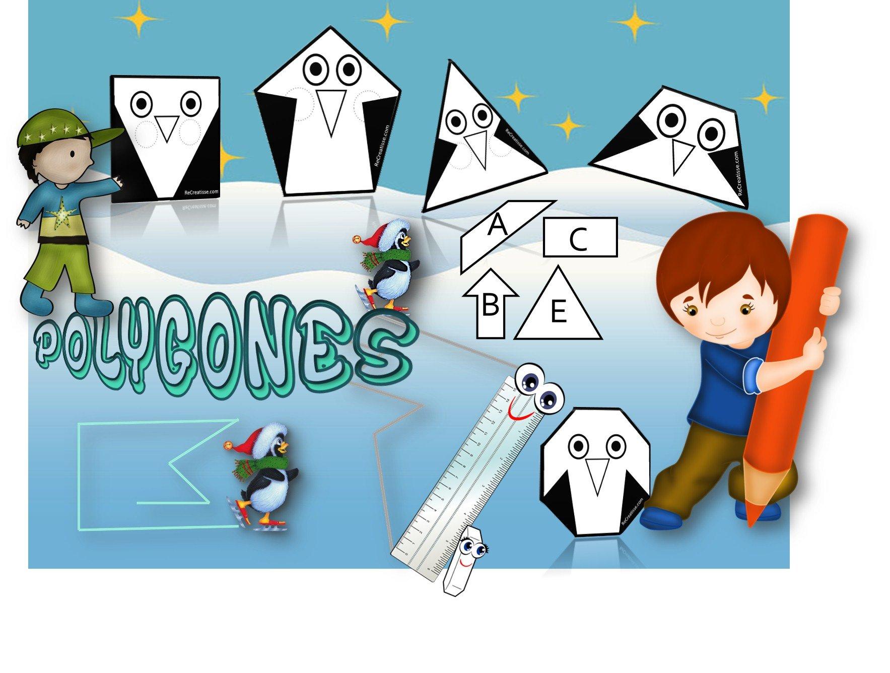 GEOMETRIE : découverte des polygones avec les pingouins ! • ReCreatisse