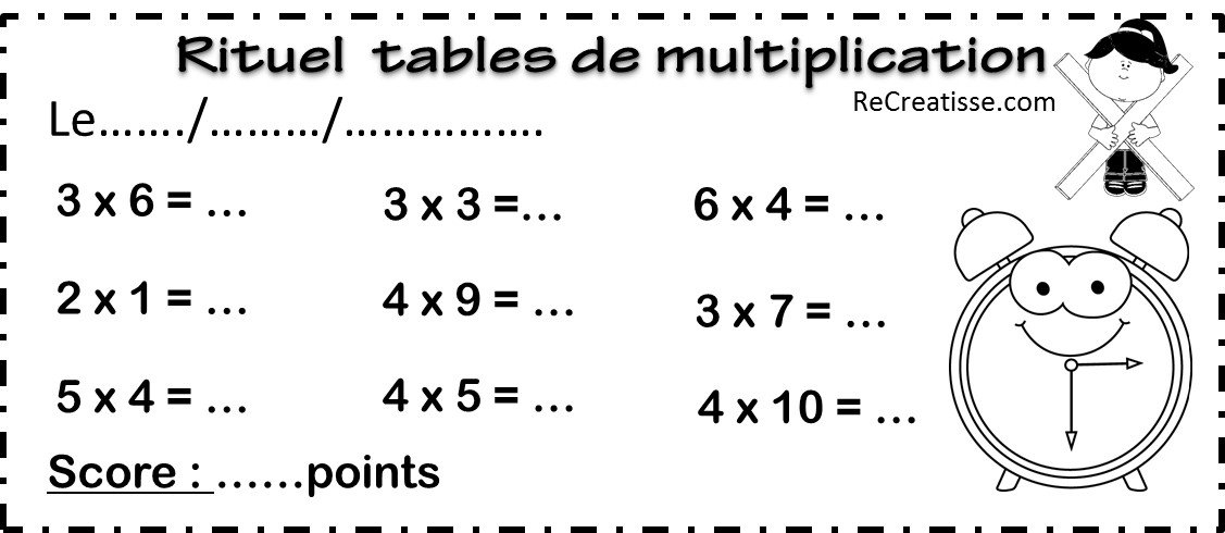 Multiplication revision table de multiplication for Revision table de multiplication